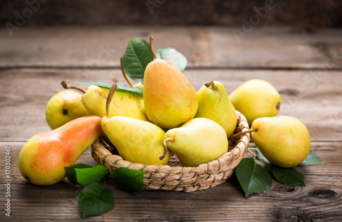 Sweet pears in the basket