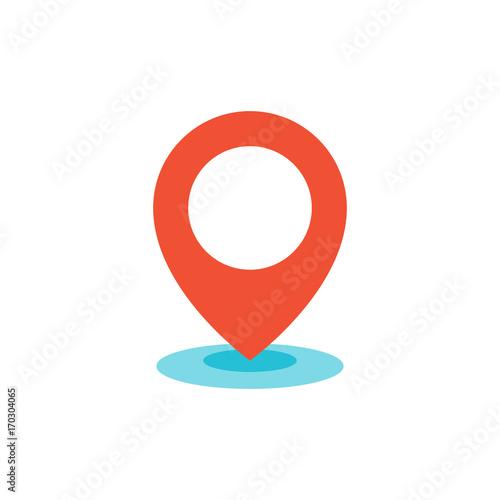 Fotografía  Geo location pin icon flat