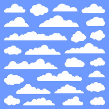 Set Of Clouds On A Blue Background