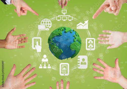 Fotografía  Hands pointing a globe with connectors