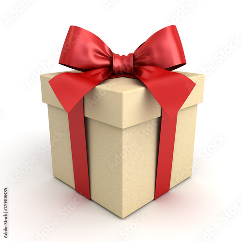 Gift box , Present box with red ribbon bow isolated on white background with shadow . 3D rendering. © masterzphotofo