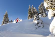 Ski Holiday, Man Skiing Downhill, Sudelfeld, Bavaria, Germany