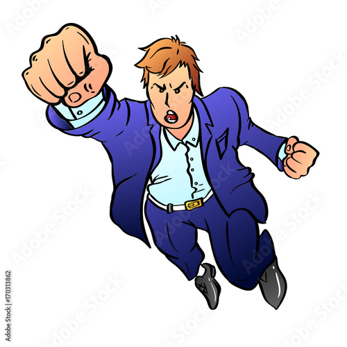 Keuken foto achterwand Superheroes Team leader in a blue business suit pulls his hand up in a fist