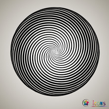 Black And White Spiral Abstract Halftone Dots Background. Vector Illustration