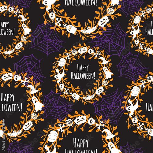 Cotton fabric Happy Halloween. Seamless vector background.