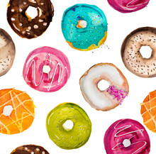 Hand-painted Watercolor Donuts...