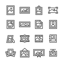 Picture Frame Image Line Icon ...
