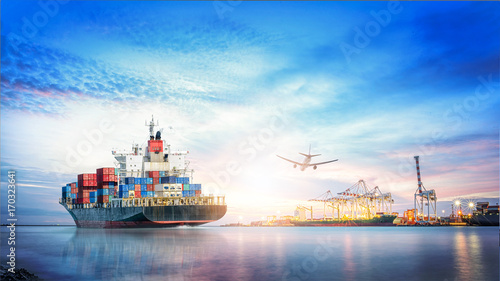 Türaufkleber Flugzeug Logistics and transportation of International Container Cargo ship and cargo plane in the ocean at twilight sky, Freight Transportation, Shipping