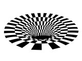 Fototapeta Perspektywa 3d - Abstract black and white checkered hole. Vector illustration