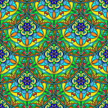Vector Seamless Blue Green Floral Mandala Pattern