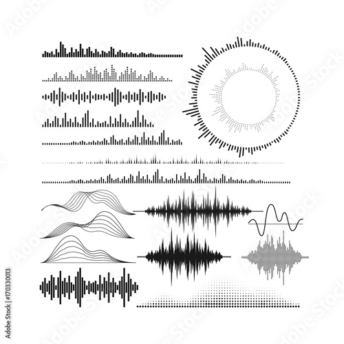 Set of audio equalizer shapes. Wall mural