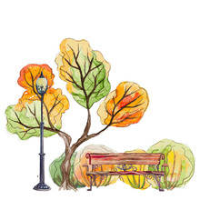 Vector Hand Drawn Watercolor Autumn Background With Park, Outdoor Elements, Orange,green Tree,bench, Shrubs And Lantern On The White Background