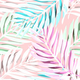 Tropical palm leaves pattern. Trendy print design with abstract jungle foliage. Exotic seamless background. Vector illustration - 170334684
