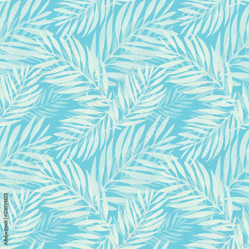 Ingelijste posters Tropische Bladeren Tropical palm leaves pattern. Trendy print design with abstract jungle foliage. Exotic seamless background. Vector illustration
