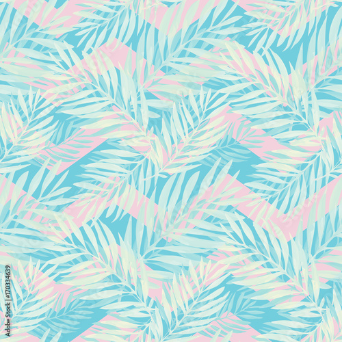 Cotton fabric Tropical palm leaves pattern. Trendy print design with abstract jungle foliage. Exotic seamless background. Vector illustration