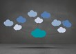 Leinwandbild Motiv Colorful mind map clouds floating over dark room background