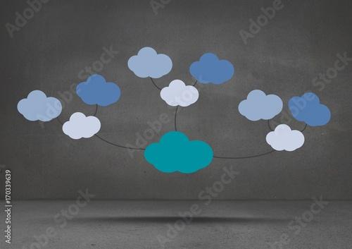 Colorful mind map clouds floating over dark room background
