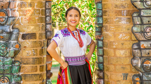 QUITO, ECUADOR - AUGUST, 30 2017: Young indigenous woman wearing a typical andea Canvas Print