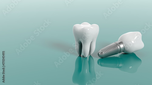 Fotografie, Obraz  Teeth isolated on green background. 3d illustration