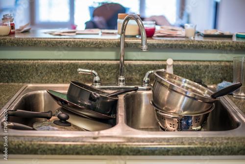 Fotografie, Obraz  Sink of Dirty Dishes