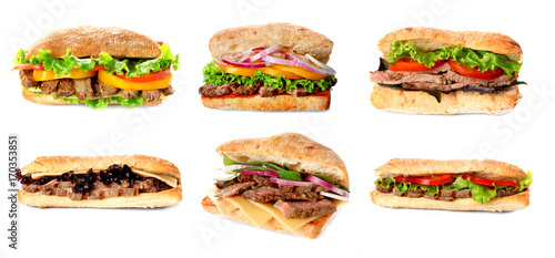 Poster Snack Delicious sandwiches on white background