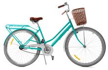Stylish Bicycle With Basket On White Background