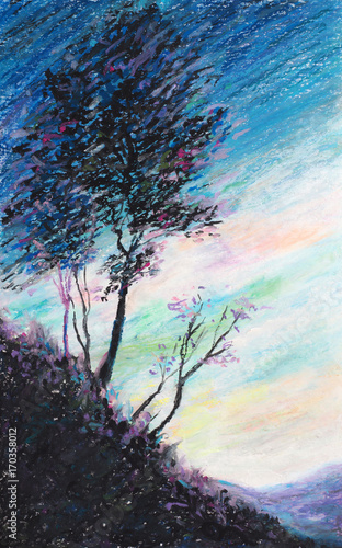 Original Oil Pastel Painting The Tree And The Sky