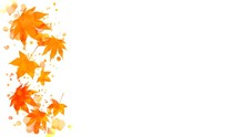 Border Of Colorful Orange And Red Autumn Maple Leaves And Abstract Wet Watercolor Paint Blots On Copy Space White Background. May Be Used For Vertical Or Horizontal Design.