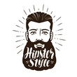 Portrait of happy bearded man. Hipster style concept. Lettering vector illustration
