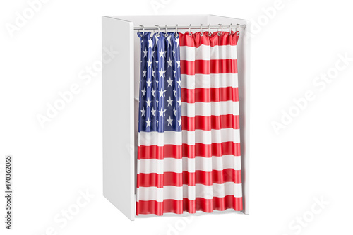 Valokuva  Vote in USA concept, voting booth with American flag, 3D rendering