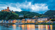 Cochem Village Panorama With Imperial Castle On Hillside At The Moselle Riverbank