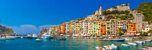 Panorama Of Colorful Picturesque Harbour Of Porto Venere With San Lorenzo Church, Doria Castle And Gothic Church Of St. Peter, Italian Riviera, Liguria, Italy.