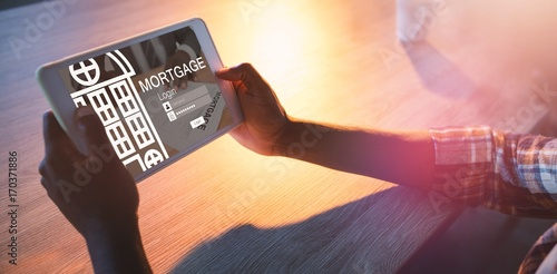 Fototapeta Composite image of graphic image of mortgage web page and obraz