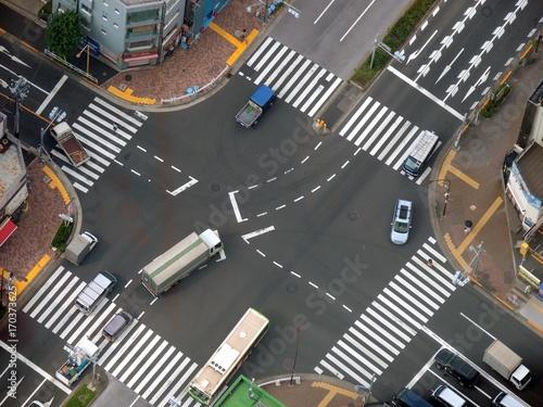 上空から見た交差点