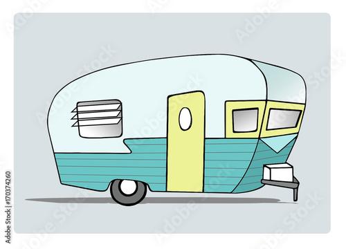 Photo Retro Camper Trailer Illustration