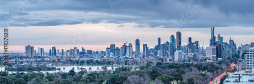 In de dag F1 Melbourne City Skyline