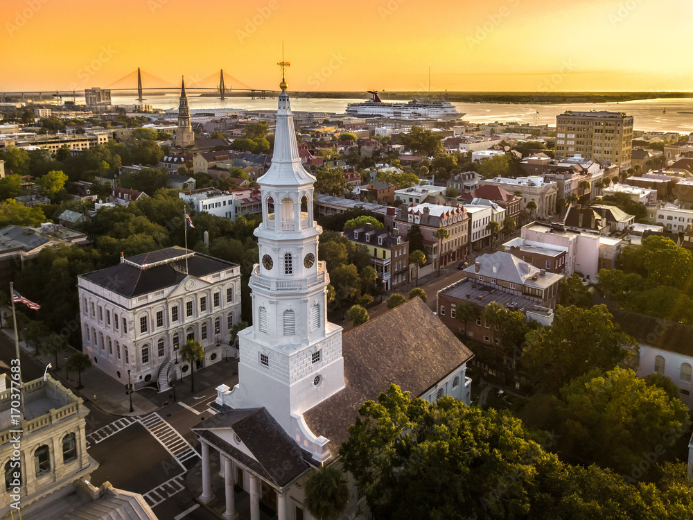 Fototapety, obrazy: Charleston from the air