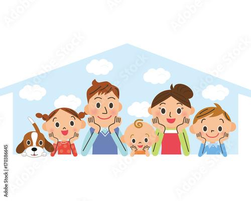 Fotografie, Tablou  幸せ家族とマイホーム