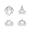 Set of mountain and outdoor adventures logo. Tourism, hiking and camping labels. Mountains and travel icons for tourism organizations, outdoor events and camping leisure. Iceberg, shep.