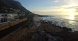 Train Next to Beach in Kalk Bay, Cape Town Aerial View