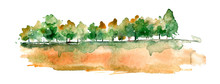 Watercolor Autumn Forest, Silh...