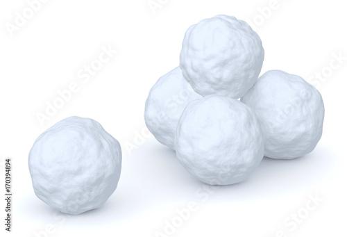 Obraz na plátně Snowballs heap and one snowball