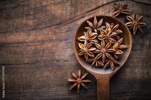 Star anise in a spoon on dark rustic wooden background Wallpaper Mural