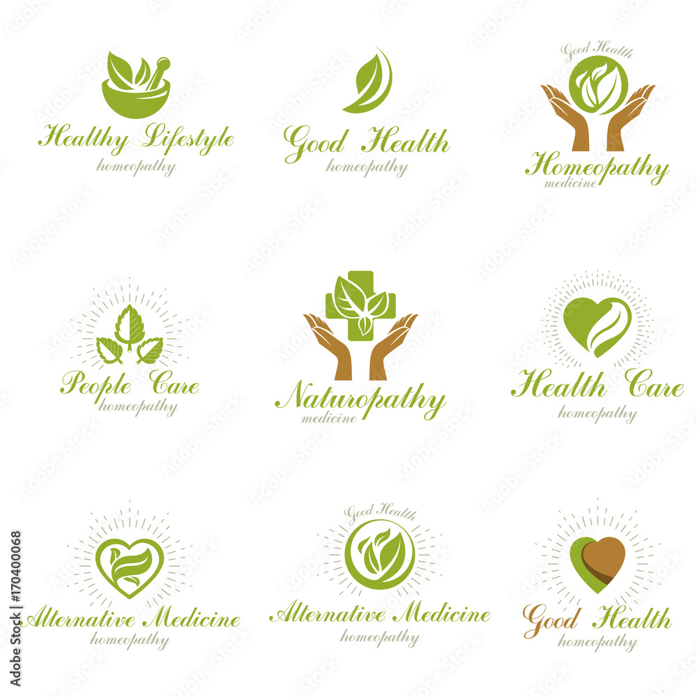 Fototapety, obrazy: Homeopathy creative symbols collection. Naturopathy conceptual vector emblems created using green leaves, heart shapes, religious crosses and caring hands.
