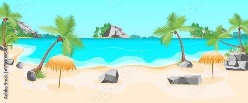 Tuinposter Lichtblauw Cartoon Tropical Beach Summer Landscape Background. Vector
