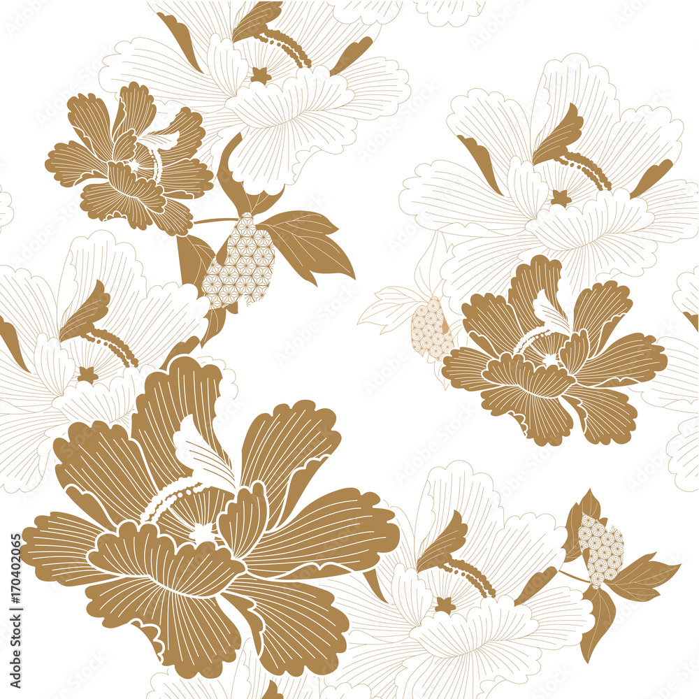 Peony flower with Japanese style pattern seamless vector in traditional kimono Chinese background or nature luxury for backdrop, template, cover page design , paper texture.