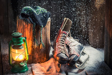 Retro Winter Hat With Skates, Oil Lamp And Hat