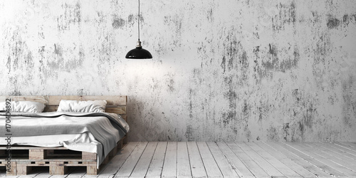 Fotografie, Obraz  A industrial style bedroom with recycled pallet bed. 3D render.