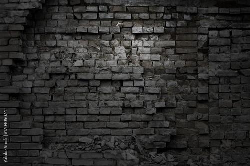 Aluminium Prints Graffiti Darck brick wall