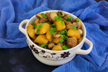 Stewed Potatoes On Dark Backgr...